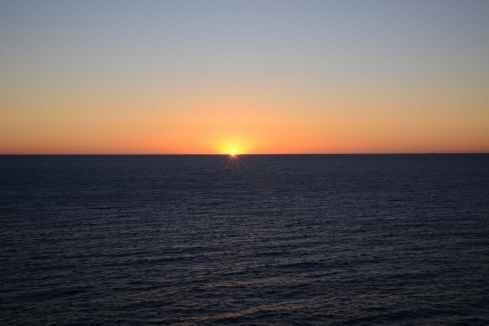dawn sky blue ocean